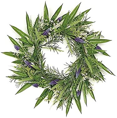 """Wholesale Silk Floral 24"""" Country Chic Grape Hyacinth and Fennel Seed Leaf Wreath Wall décor, Mixed"""