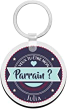 Porte clés à personnaliser avec prénom veux tu être mon PARRAIN - cadeau personnalisé parrain - porte clé parrain - idée c...
