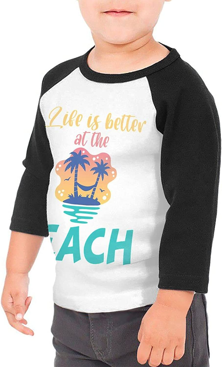 Life is Better at The Beach Surfing Summer T-Shirts Novelty for Youth Tees with Cool Designs