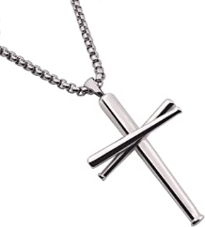 Cross Necklace Baseball Bats Athletes Cross Pendant Chain,Sport Stainless Steel Cross Necklaces for Men Women Boys Girls,Large and Small Silver Gold Black 18-24 Inches