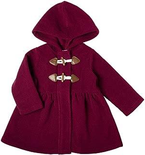 Infant Girl Burgundy Hooded Fleece Coat with Toggles