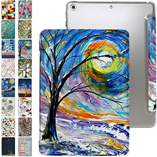 iPad 7.9 Case Mini 4th Generation with Slim Fit Dual-Angel Stand & Hard PC Clear Back [Protective Smart Cover] for 7.9' iPad Mini 4 Gen [Auto Sleep/Wake] - Printed Color Emblem