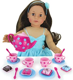 "Sophia's Doll Sized Pink & Blue 18"" Doll Tea Party Set & Dessert Includes 17Piece, Perfect for American Girl Dolls & More! Doll Sized"