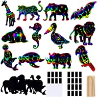 Large quantity: each set contains 24 pieces animals scratch arts, 24 pieces magnetic stripes, and 24 wooden styluses, which can meet the needs of 24 people at the same time Size: different animals come in different sizes; the overall size of the scra...