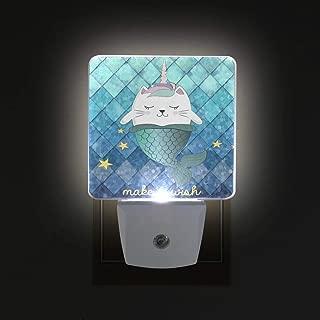 ZOEO Unicorn Night Light Cat Fish Ocean Blue Plug-in LED Night Lamp with Light Sensor Bathroom Toilet Bedroom Kitchen Wall Decorative Daylight White for Kids Childrens