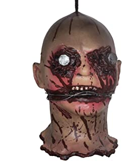 MONEIL Halloween Props Scary Hanging Severed Head Decorations,Life-Size Bloody Cut Off Corpse Head Ghost Animated Zombie Head for Haunted Houses Party Decor Funny Festive Supplies (Horror Head SF)
