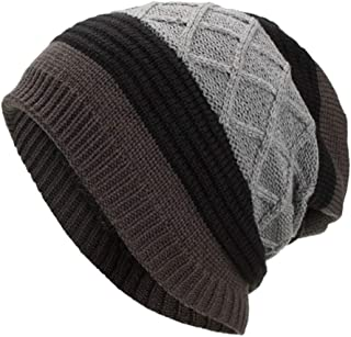 WUAI Deals,Women Men Winter Knit Warm Flexfit Hat Stripe Ski Baggy Slouchy Beanie Fashion Skull Cap