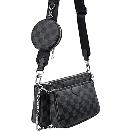 Dakecy Crossbody Umhängetasche, 3 in 1 Luxus-Handtasche PU Leder Tragetaschen, Mehrzweck Mahjong Bag Umhängetasche Fashion für Frauen Tragetaschen (Color : Schwarz2, Size : L)