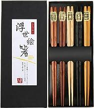 Lucky Cat Essst/äbchenhalter 5 Katzen Klassische japanische Bambus nat/ürliche Wiederverwendbare Essst/äbchen Plutus cat Set 5 Paare Essst/äbchen und Essst/äbchen Rest Set