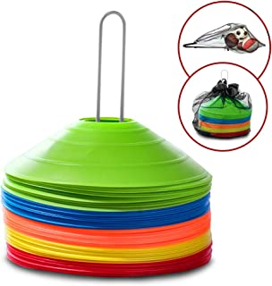 50 Training Disc Cones Sports Equipment - Carry Bag, Mesh Ball Bag And Metal Holder Included | Use For Sports Training, Soccer Drills, Football Drills, PE Cones, Agility Training, and Field Markers