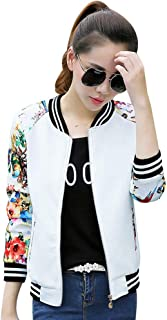 Women's Floral Print Baseball Bomber Jacket Slim Fit Casual Zip up Outwear