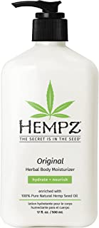 Hempz Original, Natural Hemp Seed Oil Body Moisturizer with Shea Butter and Ginseng, 17 Fl Oz, Pure Herbal Skin Lotion for...
