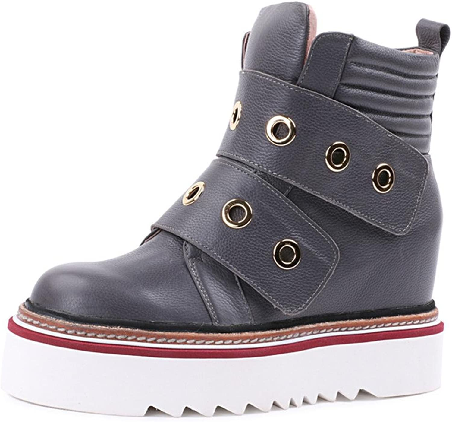 XUANshoes L&L Women's Boots Retro Martin Boots Female Within The Increase Loose Cake at The end Large Size Women Boots 8072FD