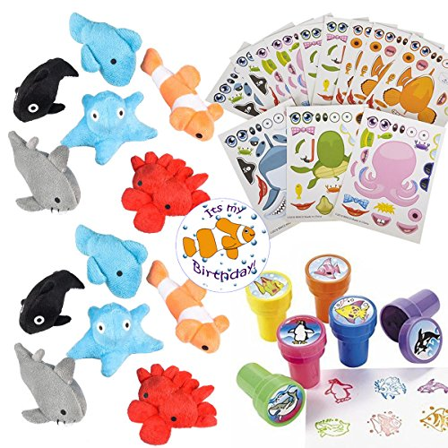 Multiple Sea Creature Party Favors for 24 - Under The Sea Stampers (24), Make-a-Fish Stickers (24), Plush Mini Ocean Animals (24) and a Birthday Sticker (Total 73 Pieces)