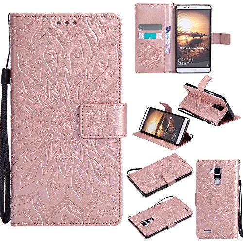 pinlu® PU Leder Tasche Etui Schutzhülle für Huawei Ascend Mate 7 (6 Zoll) Lederhülle Schale Flip Cover Tasche mit Standfunktion Sonnenblume Muster Hülle (Roségold)