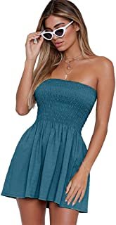 Women's Summer Cover Up Strapless Dresses Solid Tube Top Beach Mini Dress