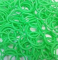 ルームバンド 補充パック セレクトカラー 黄緑 600個入り 可愛いピンクラベル カラフルSクリップ12個付き レインボールーム ファンルーム DIY (黄緑)