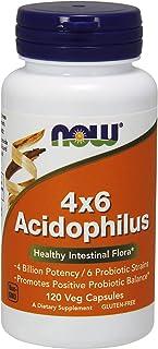 NOW Supplements, Acidophilus 4X6, 4 Billion Potency with 6 Probiotic Strains, Strain Verified, 120 Veg Capsules