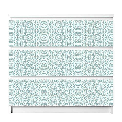 banjado Möbelfolie passend für IKEA Malm Kommode 3 Schubladen | Möbel-Sticker selbstklebend | Aufkleber Tattoo perfekt für Wohnzimmer und Kinderzimmer | Klebefolie Motiv Muster Getupft Blau