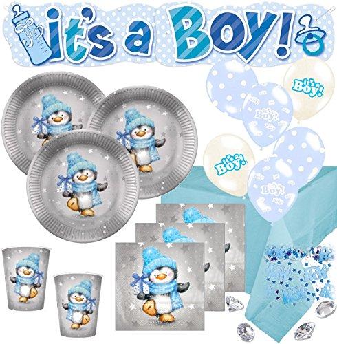 XL 67 Teile Baby Shower Deko Set Pinguin Junge in Hellblau und Silber 16 Personen