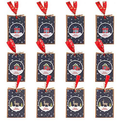 Bolsa de Regalos Navidad, Bolsas de Regalo de Papel Kraft con Patrón de Cordón de Yute y Cinta, para el Tema de Navidad, Regalos, Caramelos, Galletas, Chocolates(12 x 7.5 x 18 cm)