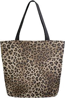 Naanle Animal Print Canvas Tote Bag Large Women Casual Shoulder Bag Handbag, Leopard Print Reusable Multipurpose Heavy Duty Shopping Grocery Cotton Bag for Outdoors.