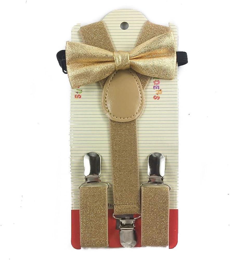 Toddler Kids Boys Girls Child Suspender Bow Tie (Metallic Gold)