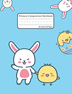 Primary Composition Notebook: Bunny and Little Chicks - Primary Story Journal: Dotted Midline and Picture Space - Grades ...