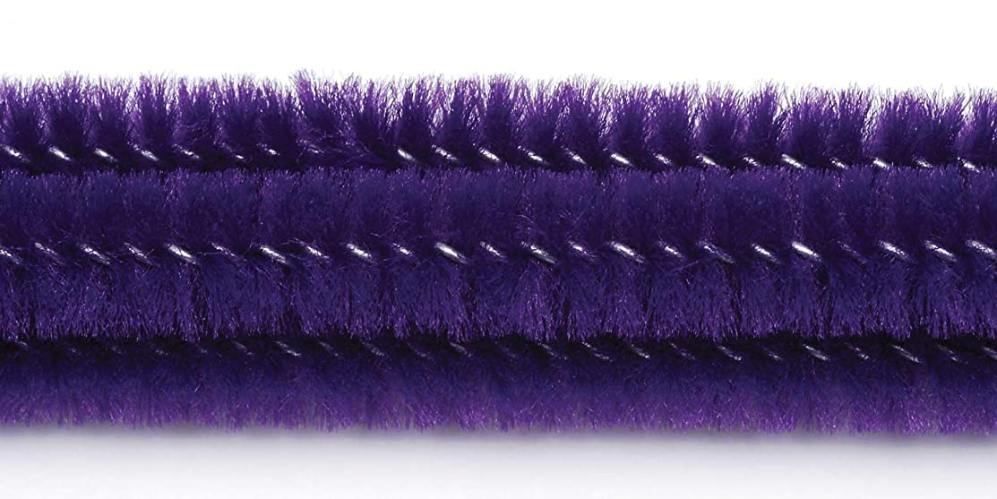 Darice 100-Piece Chenille Stems, 6mm by 12-Inch, Purple