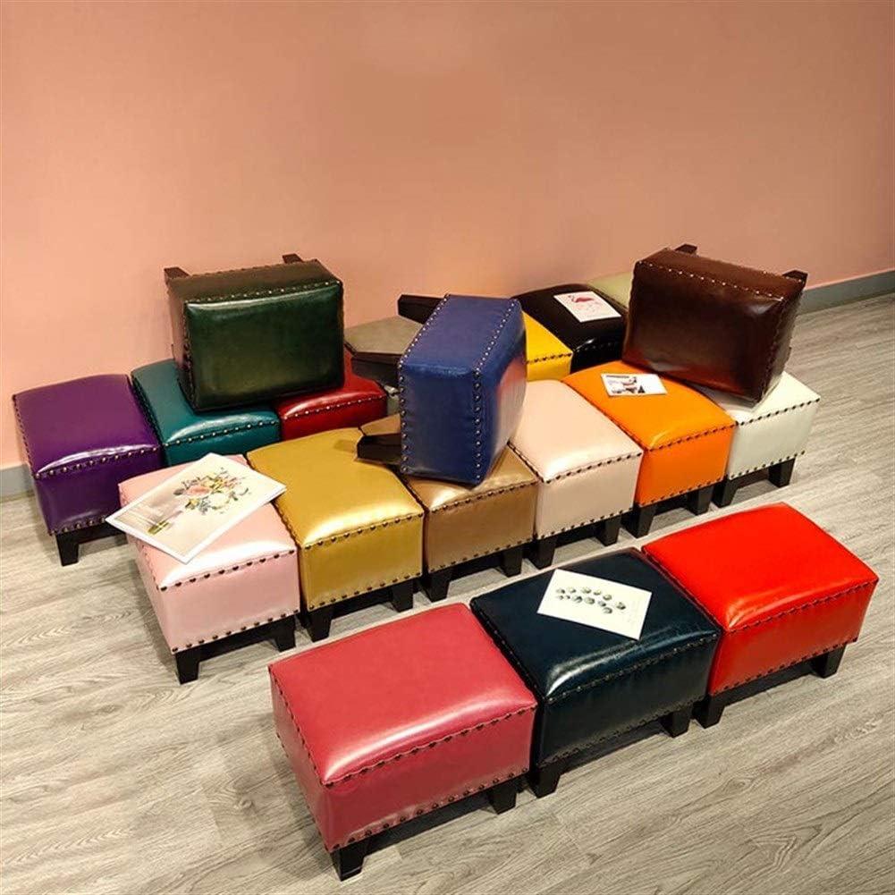 YUMUO Moderne Chaussures Banc en Cuir Rembourré Pouf Cube Pouf, Pouf Repose-Pieds en Bois Massif Carré en Cuir Salon Table Basse Petit Banc (Couleur: 20) 20