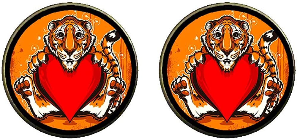 GiftJewelryShop Bronze Retro Style Holding a red heart of the tiger Photo Clip On Earrings 14mm Diameter