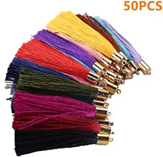 VIIRY 50pcs Tassels for Jewelry Making,Mix Color Style Fashion Soft Silky Imitation Silk Tassels Fit DIY Accessories(25 Pairs)