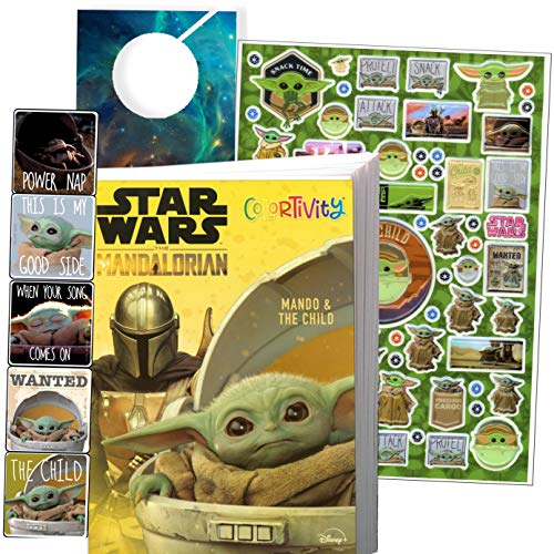Star Wars Mandalorian Coloring Book Set - Bundle Includes Baby Yoda Stickers and Specialty Door Hanger(Star Wars Classic)