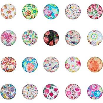 NBEADS 1 Caja de 200 Unidades de 10 mm de Cristal de Flor Redondo cabujones con Parte Trasera Plana Cameo para bisuter/ía Colorido Vidrio