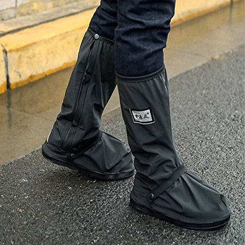 Thick Waterproof Motorcycle Bike Shoe Covers,Reusable Cycling Shoe Protective Gear Snow Rain Boot Shoe Cover Protector (Black,Sole 11.2inch)