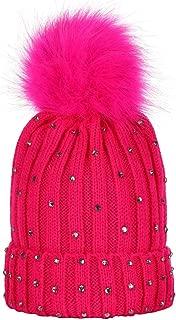 TWGONE Children Knit Cap Baby Rhinestone Keep Warm Winter Fur Ball Knitted Wool Hemming Hat