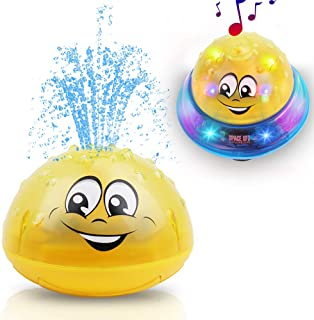 Bath Toys for Baby Toddler, 2-in-1 Bathtub Toy Fountain and UFO Car Toys, Light Up with Music, Bath Tub Bathtime Pool Water Toys for Kids Boys and Girls