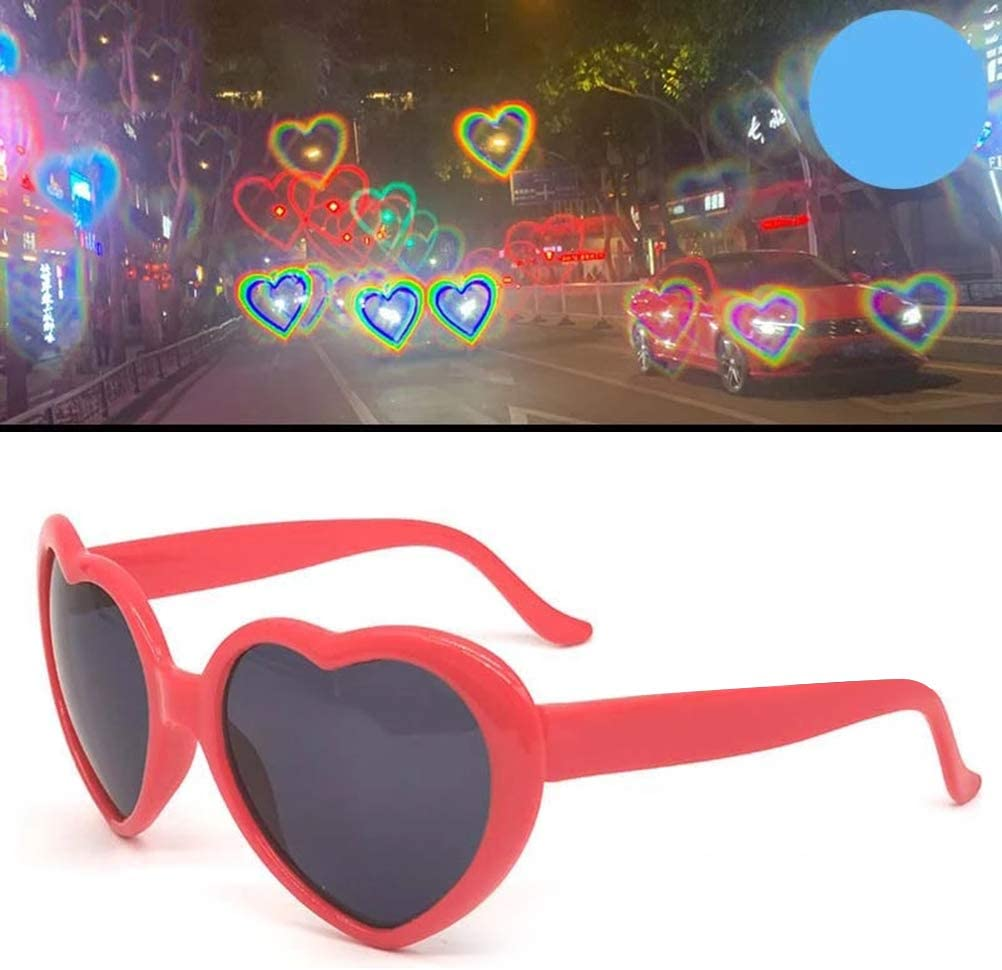 Bozaap Heart Lenses Refraction Glasses Heart Shaped Love Special Effects Glasses Fashion Sunglasses