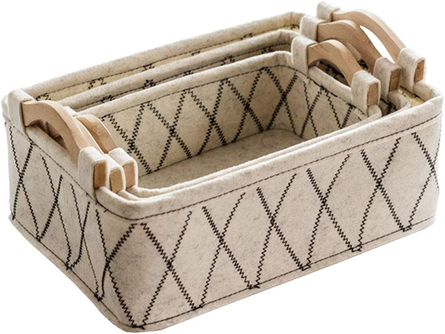 3-Piece Set Storage Basket with Handle Sundries Finishing Organize Box for Home Office Bedroom(37.5  26.5  17.5cm) (color    2)