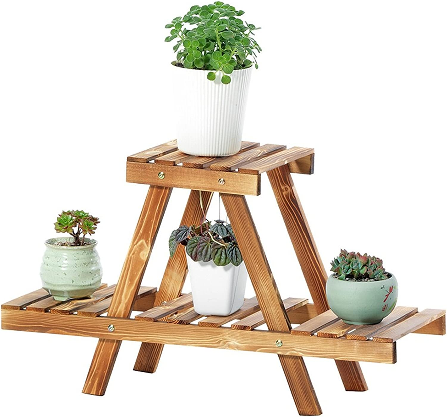 Solid Wood Plant Stand, Floor-Standing Multi-Layer Flower Stand, Interior Wood Plant Holder Stand, Antiseptic and Mildew