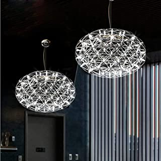 Venta caliente de acero inoxidable LED Lámparas colgantes Lámparas Fuegos artificiales Forma de bola plana Sala de estar Loft Luces Tiendas Lights110-240V-58CM_Cold blanco