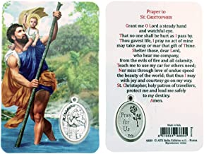VILLAGE GIFT IMPORTERS Holy Figure Prayer Card with Medal | Saint Prayer and Medal | 8 Figures (St. Christopher)