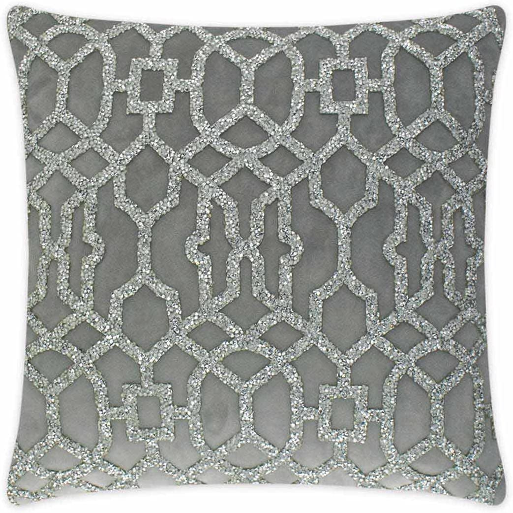 Courier shipping free shipping Overseas parallel import regular item Sparkles Home Rhinestone Lattice Laser Pillow - Silver Cut
