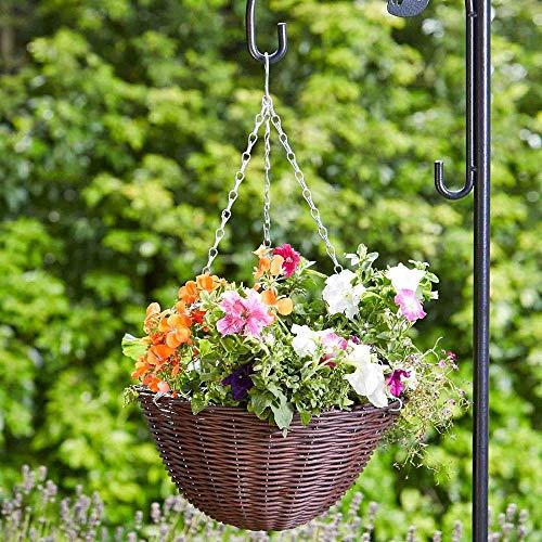 pille gartenwelt Blumenampel außen Rattan Blumenampeln zum aufhängen versch. Größen und Farben (rund 35cm Kunstrattan Kastanie)