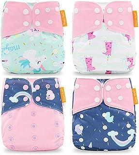 Wenosda 4PCS Pañales de tela para bebés Pañales de bolsillo Pañales reutilizables lavables Inserte el pañal de bolsillo todo en uno para la mayoría de los bebés y niños pequeños (Pink Cloud)