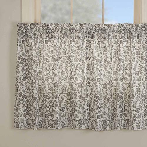 """Gray Gables Floral Tier Curtains, Set of 2, 36"""" Long, Botanical Print, Farmhouse Vintage Country Cottage, Kitchen Café Curtain"""