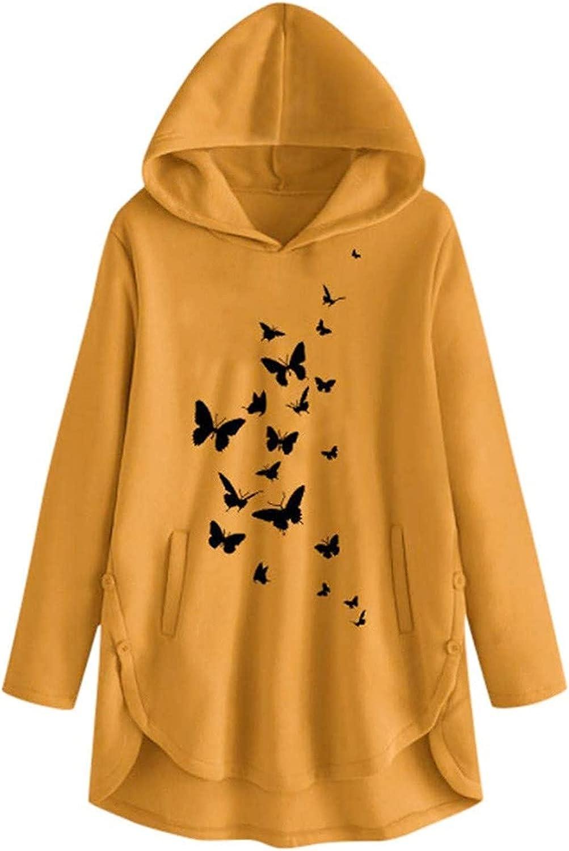 Women's Winter Cute Hoodies Sweatshirt Casual Butterfly Cartoon Printed Long Sleeve Pullover Loose Daily Blouse