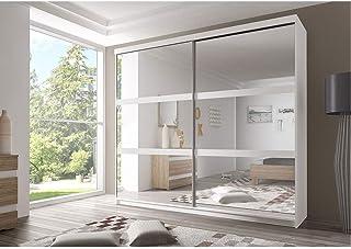 E-MEUBLES Armoire de Chambre avec 2 Portes coulissantes et mirors | Penderie (Tringle) avec étagères (LxHxP): 183x218x61 B...