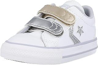 Converse Star Player 2V Ox Metallic Leather Blanco/Dorado (White/Metallic) Cuero Infantil Entrenadores Zapatos