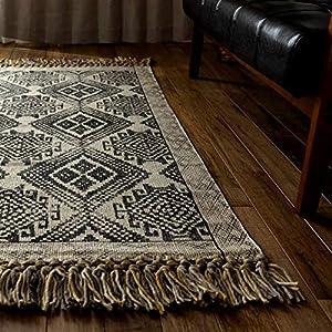 サヤンサヤン キリム 手織り ラグ マット ジェミニ 100x150 1畳 薄い ブラック インド綿